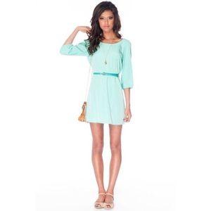 Sera Belted Zip Dress in Seafoam   Mint Dress